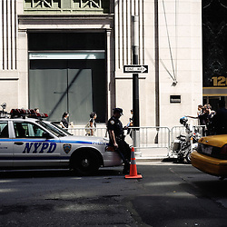 Here, every truck is getting controlled by the Police since 9/11. Wandering  around the Financial District with the  Wall Street's Soundwalk (by John Solitto) on my ears. 2009, June 12th. Photo: Antoine Doyen