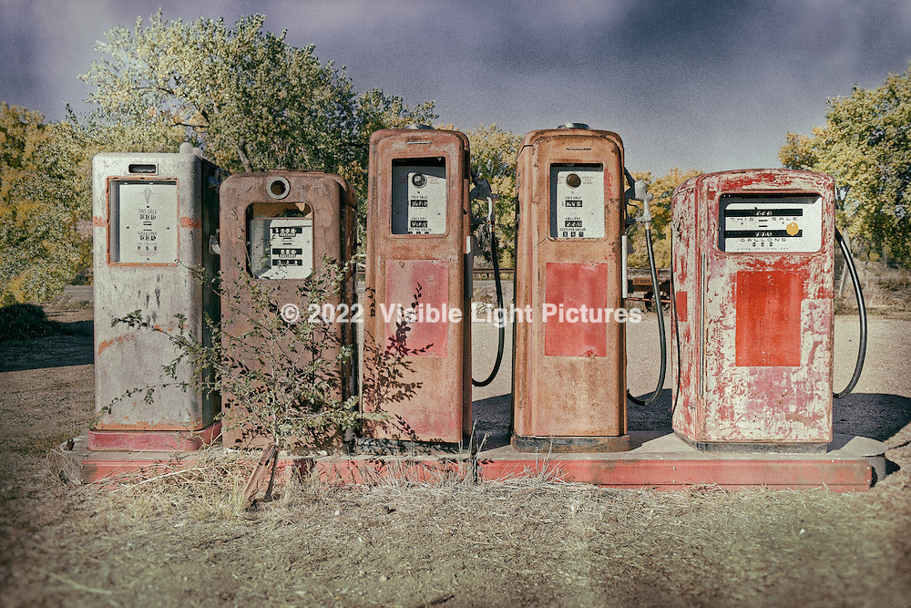 Antique gas pumps at the Classical Gas Museum in Embudo, New Mexico