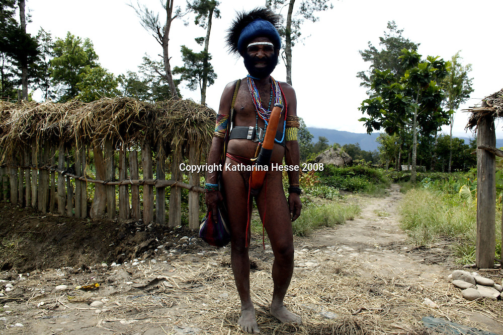 WAMENA, APRIL 30 2007: a Papuan men at the entrance to a village.. Logging is one of the major causes of environmental destruction in West Papua. As Indonesia's own forest resources decline, it has turned its attention to West Papua. Indonesia's forest practices generally have little or no attention paid to the environmental impact of logging. Many of the indigenous people of West Papua are threatened as vast tracts of land have been granted as concessions to timber companies, a practice which is having severe social and physical consequences. . The island of New Guinea is one of the most biologically diverse in the world. There are species of flora and fauna in common with Australia, such as some marsupials, the bird of paradise and eucalyptus trees. Numerous species, unique to the island, are threatened by logging and other development projects. . Second only to the Amazon, the island of New Guinea has one of the largest tracts of tropical rainforest left in the world. West Papua's forests, rich in bio-diversity, account for approximately 34.6 million hectares or 24 per cent of Indonesia's total forested area of 143 million hectares. Over 27.6 million hectares of forest in West Papua have been designated as production forest.