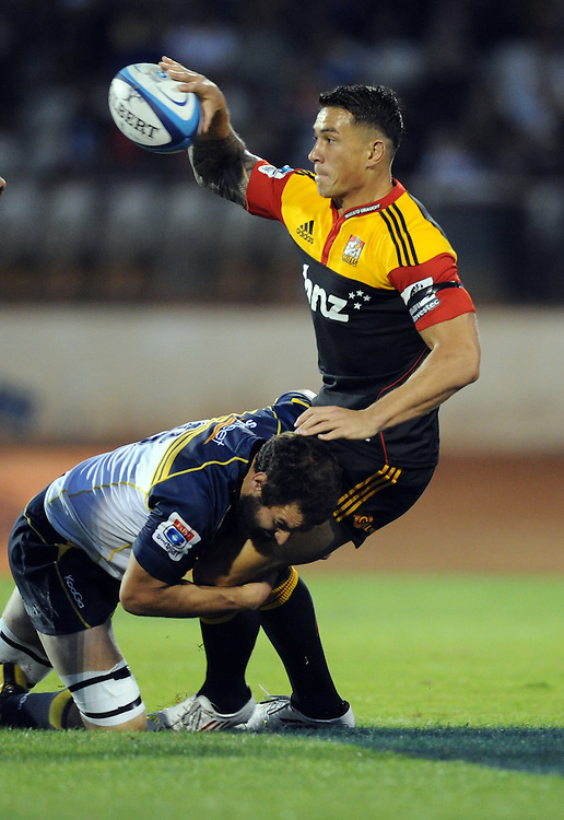Chiefs Sonny Bill Williams is tackled by Brumbies Scott Faroy in the Super 15 Rugby match at Baypark, Tauranga, New Zealand, Friday, March 16, 2012. Credit:SNPA / Ross Setford