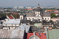 View from the Clock Tower towards the Church of St Anne in Krakow Poland
