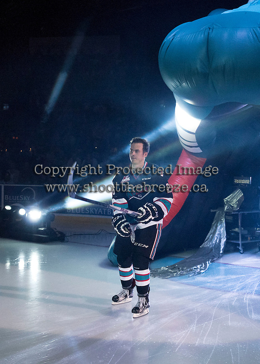 KELOWNA, CANADA - SEPTEMBER 25: Cole Linaker #26 of Kelowna Rockets enters the ice during the season home opener against the Kamloops Blazers on September 25, 2015 at Prospera Place in Kelowna, British Columbia, Canada.  (Photo by Marissa Baecker/Shoot the Breeze)  *** Local Caption *** Cole Linaker #26;