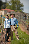 Earl & Hilda Jones, proprietors Abacela Winery, at their estate vineyard, Umpua Valley, Southern Oregon