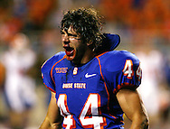 Boise State linebacker Kyle Gingg celebrates after causing a fourth-quarter fumble that sealed the game for the Broncos.