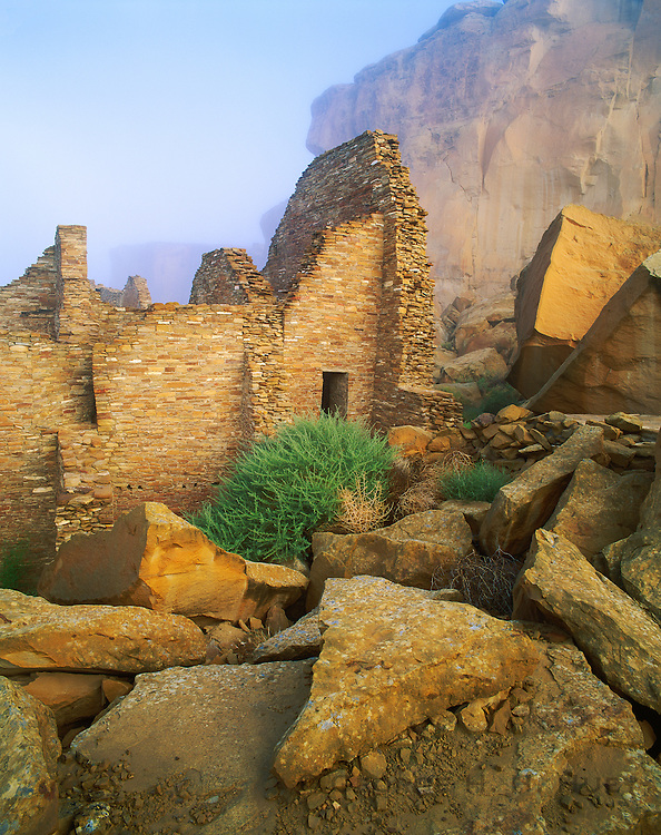0204-1086LVT ~ Copyright: George H. H. Huey ~ Morning fog at Pueblo Bonito, the 3 acre Anasazi culture 'great house' with over 600 rooms, 33 kivas, built A.D. 850-1130. Chaco Culture National Historical Park, New Mexico.