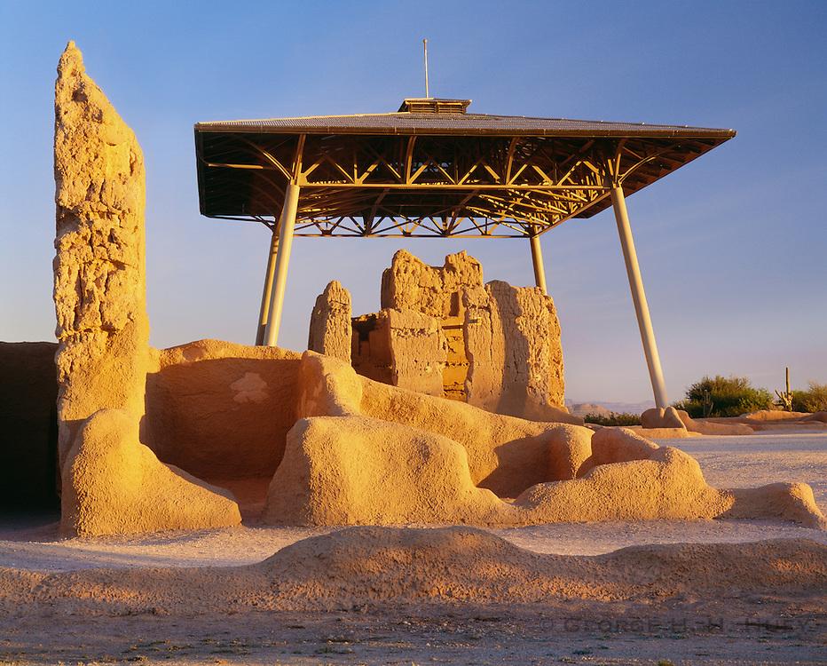 0102-1011 ~ Copyright:  George H. H. Huey ~ Casa Grande Ruin.  Hohokam culture four story structure built and occupied @ A.D. 1300 - 1450.    Casa Grande Ruins National Monument, Arizona.