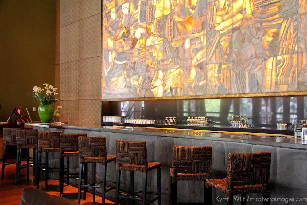 South America, Peru, Urubamba. Kiri Bar at Tambo del Inka Resort & Spa in the Sacred Valley.