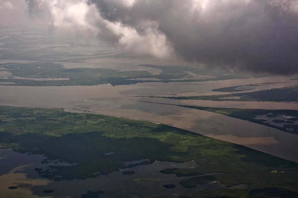 Head of Passes, end of the Mississippi River, view east, Louisiana, USA