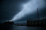 (photo by Matt Roth).Sunday, October 28, 2012.Assignment ID: 10133655A..Storm clouds hover over the Inner Harbor in Baltimore before Hurricane Sandy makes landfall Baltimore, Maryland Sunday, October 28, 2012.