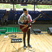 COLUMBIA, MD- April 28, 2012 - Jack Antonoff of fun. plays his guitar during soundcheck  before gates open at the 2012 Sweetgreen Festival at Merriweather Post pavilion in Columbia, MD(photo by Kyle Gustafson)