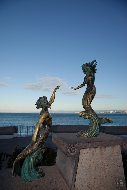 """""""Neptune and Nereid"""" - This statue of mermaids was photographed at the Malecon in Puerto Vallarta, Mexico."""