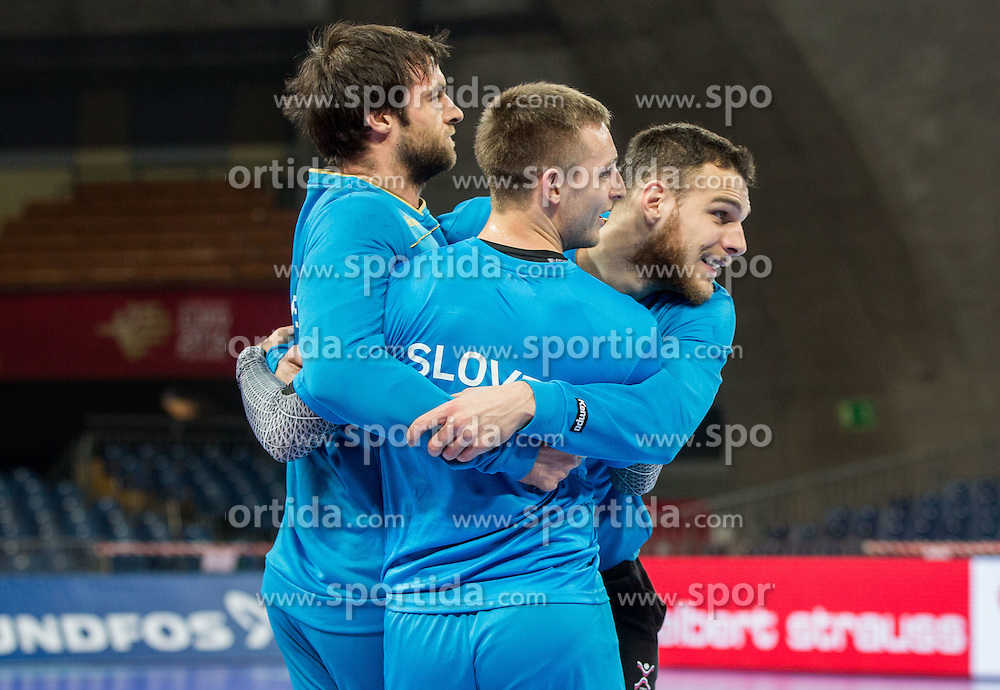 Klemen Cehte of Slovenia, Gasper Marguc of Slovenia and Borut Mackovsek of Slovenia during practice session of Team Slovenia on Day 1 of Men's EHF EURO 2016, on January 15, 2016 in Centennial Hall, Wroclaw, Poland. Photo by Vid Ponikvar / Sportida