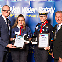 Dublin - Ireland, Tuesday 8th November 2016:<br /> Simon Coveney TD, Minister for Housing, Planning &amp; Local Government with 'Seiko Just In Time Award' recipients Mollie Tamara Power (Dublin) and Sean Thompson (Wexford) and Martin O'Sullivan, Chairman of Irish Water Safety at the annual Irish Water Safety Awards held at Dublin Castle.  Photograph: David Branigan/Oceansport