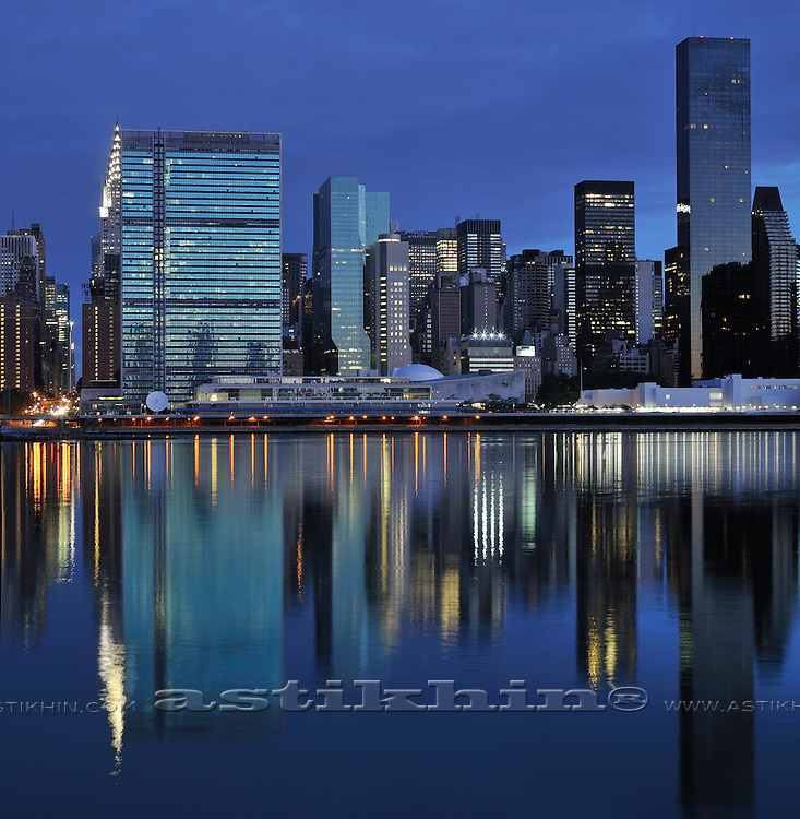 Reflection of New York City on twilight.