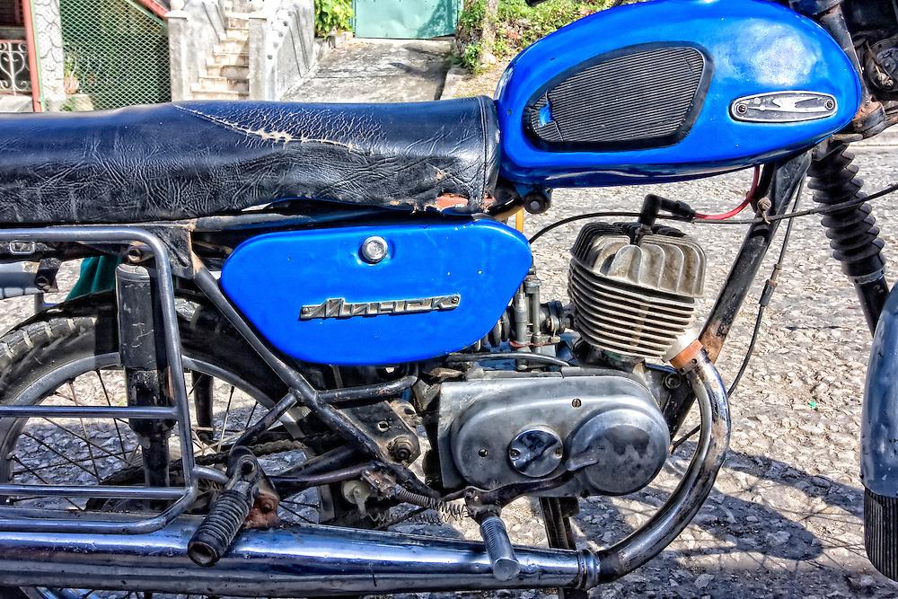 Russian motorcycle in Cabanas, Artemisa, Cuba.