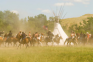 Custers Last Stand Reenactment, Crow Indian Reservation on Little Bighorn River, Montana, Warriors defeat Custer and 7th Cavalry