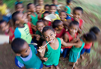 A group of school children at a village school in Vanua Levu, Fiji.