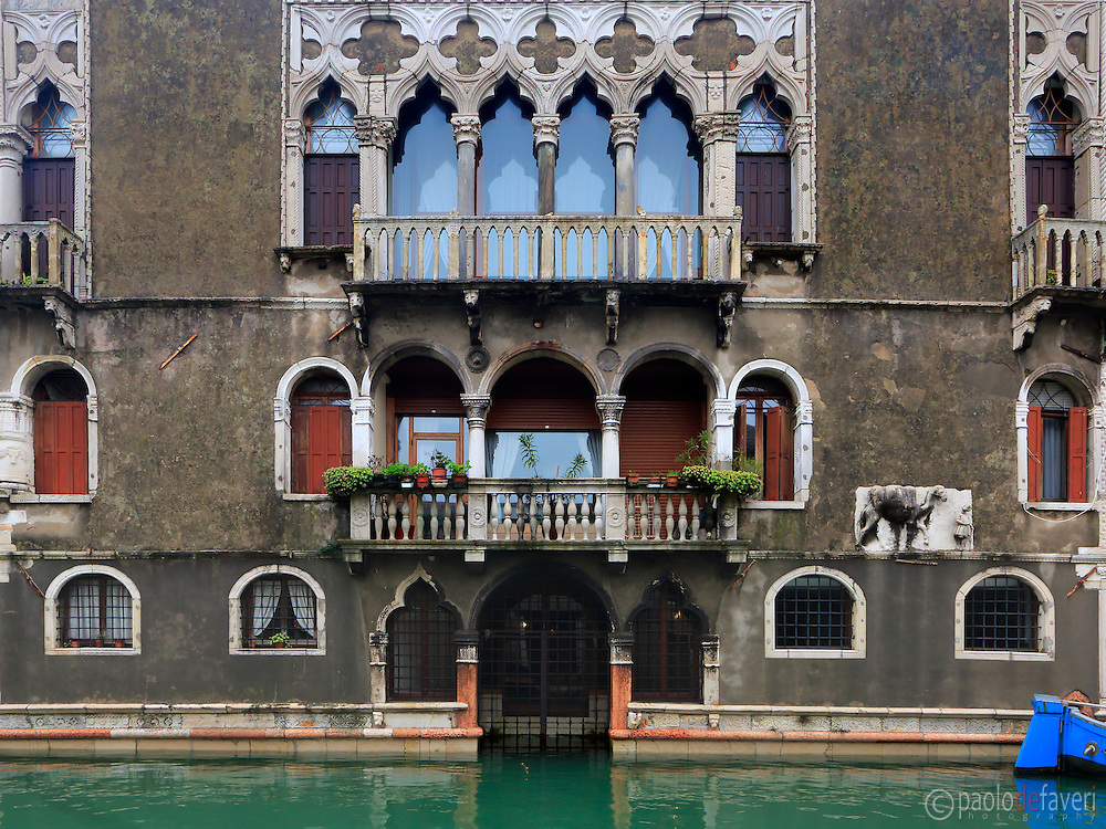 "The facade of Palazzo Mastelli, also knows as Palazzo del Cammello or, in venetian dialet ""caxa del Camelo (camel's house) is a building on the Rio Madonna dell'Orto, a canal in Venice, Italy"