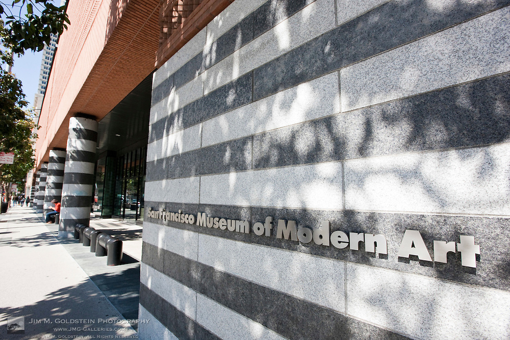 Street view of the front entrance sign to the San Francisco Museum of Modern Art - San Francisco, California