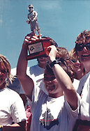 Tracy Edwards MBE holds aloft the Beefeater Trophy on board Maiden in Perth, Australia during the Whitbread race in 1989.<br /> <br /> Tracy Edwards MBE and crew have been reunited with Maiden 27 years after sailing into the history books. Maiden and her all-female crew competed in the Whitbread Round The World Race in 1989/90 winning two legs and coming second overall. Over the next 12 months, Maiden will be restored in Hamble near Southampton. She will then sail around the world as an ambassador for the Maiden Factor, to promote access to education for girls.<br /> Picture date: Monday April 24, 2017.<br /> Photograph by Christopher Ison &copy; Empics<br /> 07544044177<br /> chris@christopherison.com<br /> www.christopherison.com