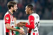 EINDHOVEN - PSV - SC Genemuiden , Voetbal , KNVB Beker , Seizoen 2015/2016 , Philips stadion , 25-10-2015 , PSV speler Davy Propper (l) viert zijn doelpunt met PSV speler Joshua Brenet (r)