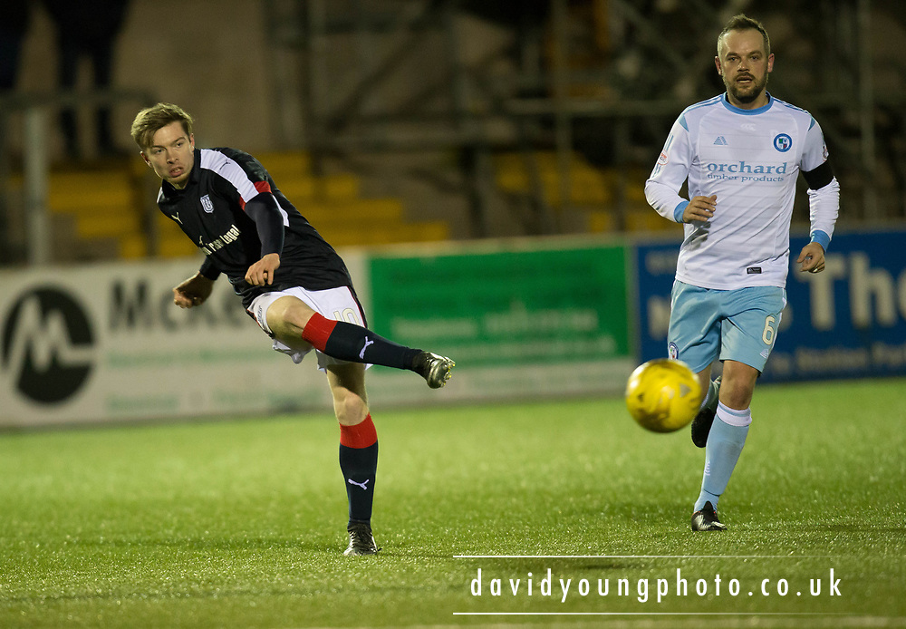 Dundee&rsquo;s Craig Wighton and Forfar's Martyn Fotheringham - Forfar Athletic v Dundee, Martyn Fotheringham testimonial at Station Park, Forfar.Photo: David Young<br /> <br />  - &copy; David Young - www.davidyoungphoto.co.uk - email: davidyoungphoto@gmail.com