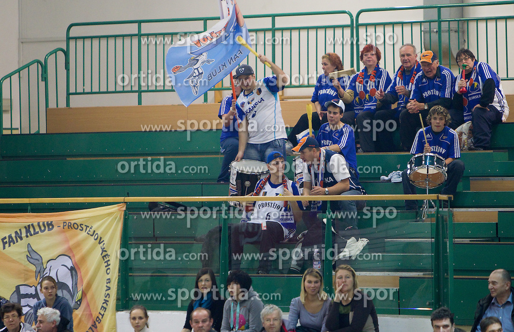 Fans of Prostejov  during basketball match between KK Krka (SLO) and BK Prostejov (CZE) in 4th Round of Group E of EuroChallenge, on December 7, 2010 in Arena Leona Stuklja, Novo mesto, Slovenia. Krka defeated Prostejov 78 - 62. (Photo By Vid Ponikvar / Sportida.com)