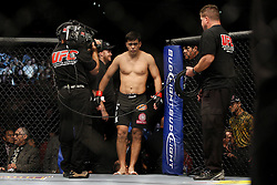October 24, 2009; Los Angeles, CA; USA;  Lyoto Machida enters the octagon for his UFC light heavyweight championship bout against Mauricio Rua at UFC 104.   Machida won via controversial unanimous decison .  Mandatory Credit:  Ed Mulholland