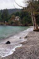 Waves come ashore at Beddis Beach on Salt Spring Island, British Columbia, Canada.