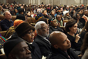 December 11, 2013-New York, NY: Audience attends the Nelson Mandela Commemorative Memorial service held at the Riverside Church on December 11, 2013 in New York City. Nelson Rolihlahla Mandela was inaugurated as the first black President of a democratic South Africa on May 10, 1994 bringing democracy and ending the oppressive rule of apartheid . (Terrence Jennings)
