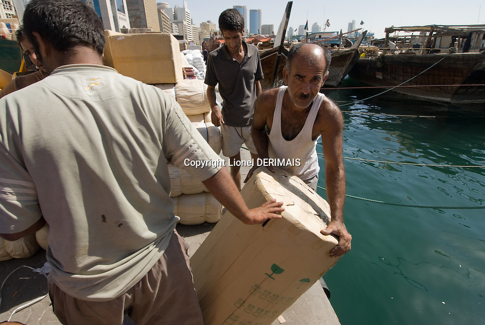 Every night all sorts of goods are shipped to Iran: motors, tyres, garlic, televisions, fridges. Dubai, one of the seven emirates and the most populous of the United Arab Emirates sits on the southern coast of the Persian gulf.