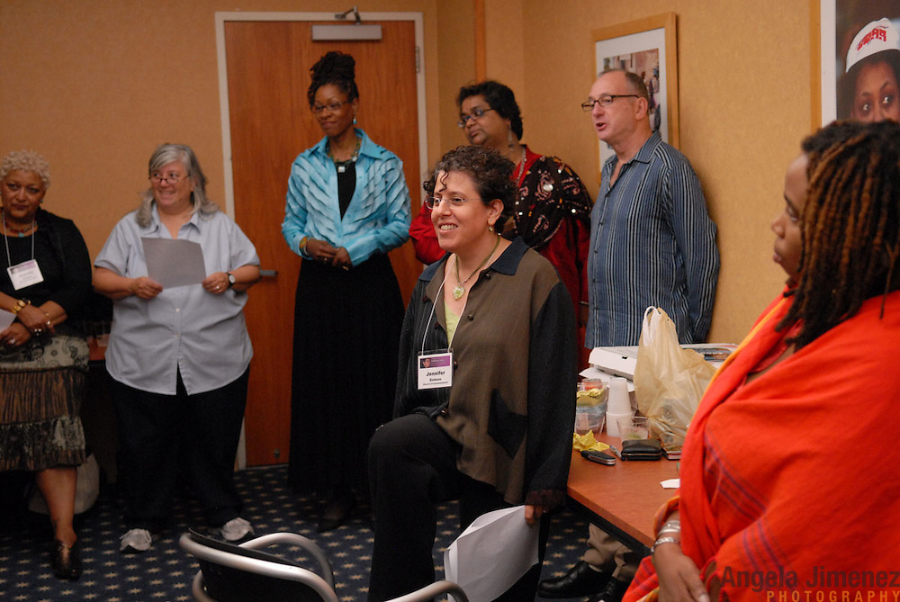 from left:.Jewelle Gomez.Leslie Cagan.Marjorie Hill .Jennifer Einhorn (foreground).Pramada Menon.Michael Seltzer.Aishah Shahidah Simmons ...People gather for the celebration of the 20th anniversary of Katherine Acey's position as Executive Director of the Astraea Lesbian Foundation for Justice at the 1199 penthouse at 330 West 42nd Street in New York City on October 10, 2007. ..Photo by Angela Jimenez