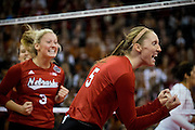 OMAHA, NE - DECEMBER 19: Middle blocker Amber Rolfzen #5 of the Nebraska reacts to winning a point during their NCAA finals match against the Texas at the CenturyLink Center on December 19, 2015 in Omaha, Nebraska.  (Photo by Eric Francis)