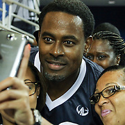 Actor Lamman Rucker of (As the World Turns, Meet the Browns) poses for a selfie with a fans after participating in The 2014 Duffy's Hope Celebrity Basketball Game Saturday, August 2, 2014, at The Bob Carpenter Sports Convocation Center, in Newark, DEL.    <br /> <br /> Proceeds will benefit The Non-Profit Organization Duffy's Hope Youth Programming.