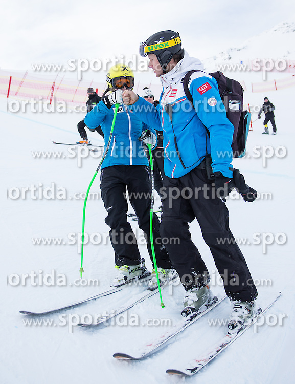 11.01.2014, Kalberloch, Zauchensee, AUT, FIS Ski Weltcup, Abfahrt, Damen, Streckenbesichtigung, im Bild Anna Fenninger (AUT, 2. Platz) und OeSV Trainer Roland Assinger  // 2nd place Anna Fenninger of Austria and Ski Austria Coach Roland Assinger  during course inspection of ladies downhill of the Altenmarkt Zauchnesee FIS Ski Alpine World Cup at the Kaelberloch course in Zauchensee, Austria on 2014/01/11. EXPA Pictures © 2014, PhotoCredit: EXPA/ Johann Groder