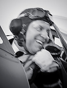 Re-enactor in the cockpit of a WWII era British Royal Navy Seafire F. XV.