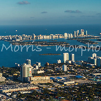 Panorama of Edgewater and Midtown and downtown Miami from the air