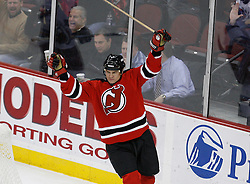 Feb 9, 2009; Newark, NJ, USA; New Jersey Devils center Bobby Holik (16) celebrates his goal during the second period at the Prudential Center.