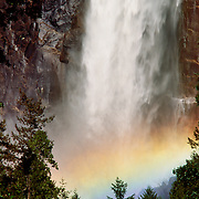 Bridalveil Falls thunders down in Yosemite National Park, California.