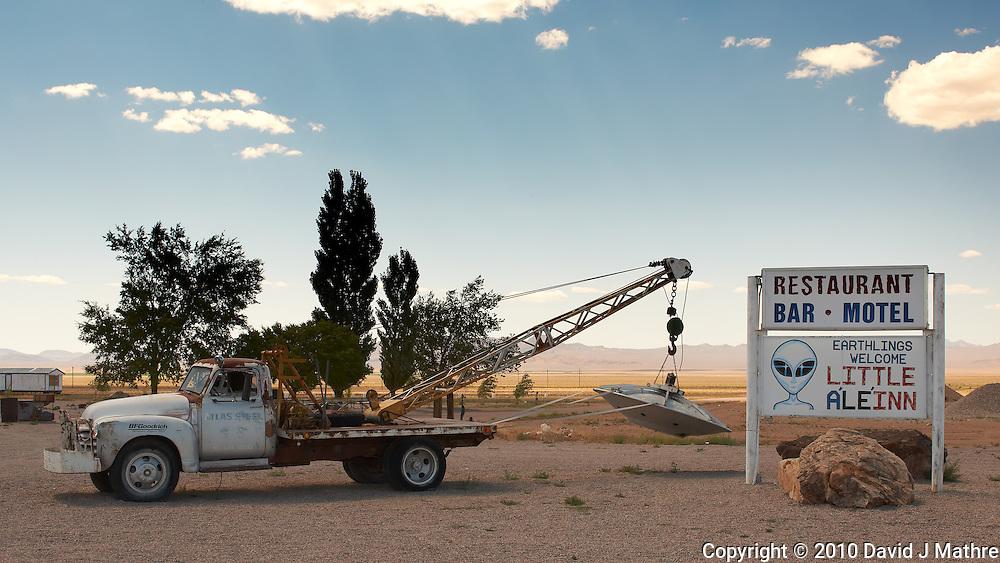 Little Aleinn in Rachel, Nevada. Image taken with a Nikon D3x and 45 mm f/2.8 PC-E lens (ISO 100, 45 mm, f/16, 1/80 sec).