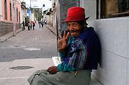 Elderly women sitting on a bench in San Antonio de Ibarra.