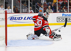 Nov 1, 2008; Newark, NJ, USA; New Jersey Devils goalie Martin Brodeur (30) makes a save during the first period of the Devils game against the Atlanta Thrashers at the Prudential Center.