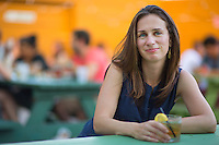 Adelle Waldman, writer of the recently published &quot;The Love Affairs of Nathaniel P.,&quot; the life and loves of a self absorbed - perhaps charming, depending on your point of view - Brooklyn writer, at Hot Bird in Brooklyn.<br /> <br /> (Photo by Robert Caplin)