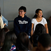 Angelina Zhou, A13, Jerry Hu, E16, Monica Brown, A15, and Jennifer Seidel, A15, answer questions from Josiah.Quincy Upper School students on a field trip to Tufts in November. The program was sponsored by the Tufts.student organization Asian American Alliance and the Tisch College of Citizenship and Public Service. (Alonso Nichols/Tufts University)