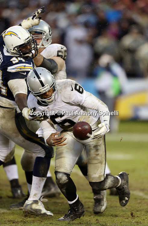 Oakland Raiders quarterback Terrelle Pryor (6) runs the ball in the fourth quarter during the NFL week 17 football game against the San Diego Chargers on Sunday, Dec. 30, 2012 in San Diego. The Chargers won the game 24-21. ©Paul Anthony Spinelli