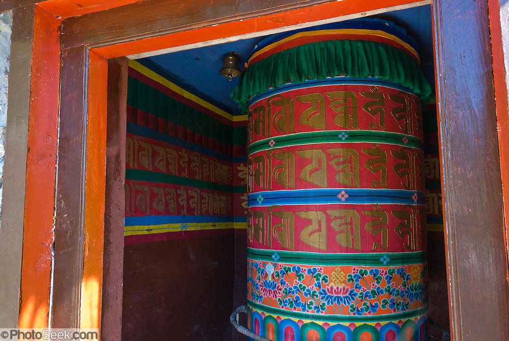 A Mani Thungkyur, a large prayer wheel, contains religious books of Tibetan Buddhism, in Nepal.