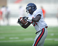 Ole Miss defensive back Senquez Golson, a Boston Red Sox draft choice, goes through drills at Vaught-Hemingway Stadium in Oxford, Miss. on Saturday, August 13, 2011. (AP Photo/Oxford Eagle, Bruce Newman)