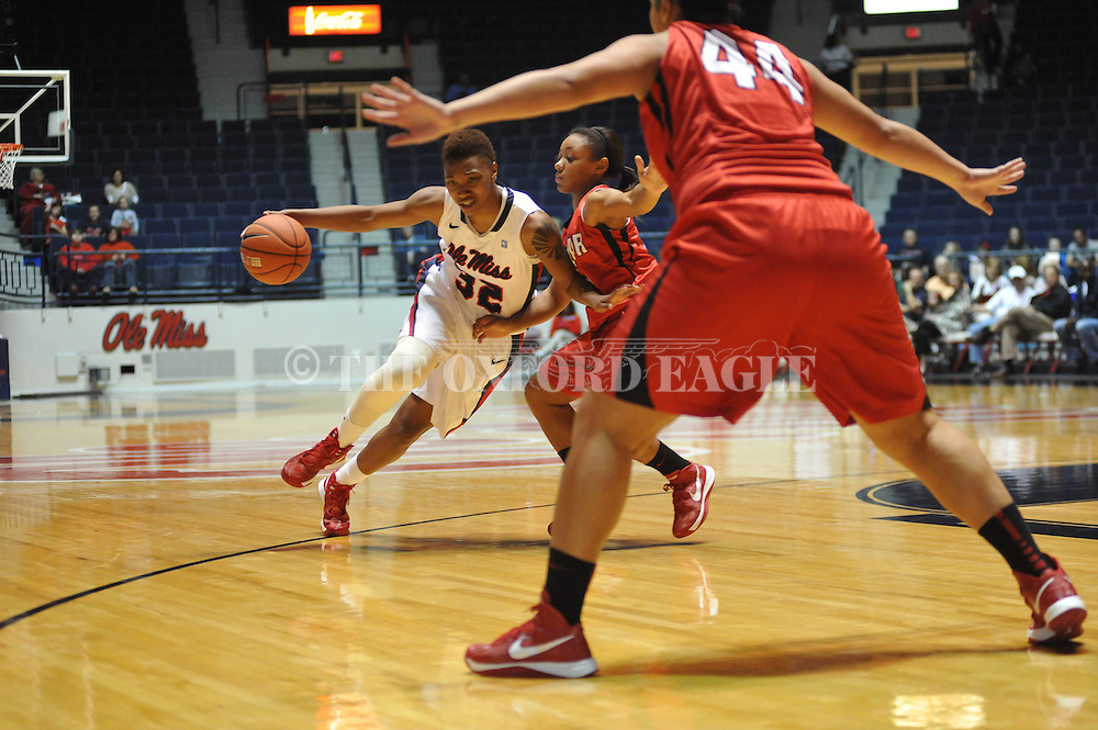 "Ole Miss' Tia Faleru (32) vs. Lamar in women's college basketball at the C.M. ""Tad"" Smith Coliseum in Oxford, Miss. on Monday, November 19, 2012.  Lamar won 85-71."
