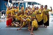 Singapore - A group of dancers with traditional costumes