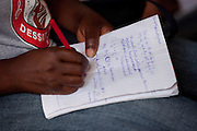 Class is taught completely in French, giving students who cannot afford regular schooling an opportunity to learn the administrative language of Haiti.